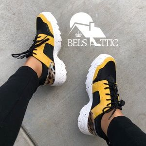 Shoes - Yellow and Black Leopard Dad Sneakers Kicks
